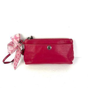 Coach Wristlet Hot Pink Leather Clutch Scarf Bow